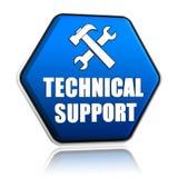 El soporte técnico y las herramientas firman adentro el botón del hexágono Fotos de archivo libres de regalías