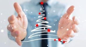 El sostenerse del hombre de negocios y bosquejo conmovedor de los árboles de navidad libre illustration