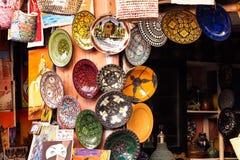 El Souks en Marrakesh, Marruecos, El mercado tradicional más grande de África imagenes de archivo