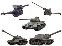 El soviet rojo del ejército de la guerra mundial hace fuego sobre los tanques de los cañones Fotografía de archivo libre de regalías