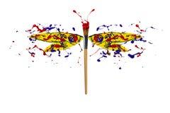 El splah azul rojo amarillo de la pintura hizo la libélula ilustración del vector