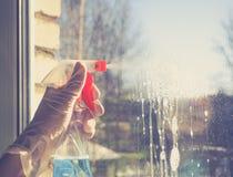 El Spring cleaning - ventanas de la limpieza Las manos del ` s de las mujeres lavan la ventana, limpiando imagenes de archivo