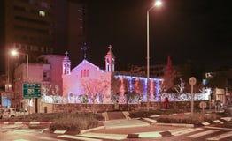 El St Elias Cathedral del católico de Melkite se prepara para Christm Imágenes de archivo libres de regalías