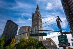 El stree metropolitano de la torre y de Broadway de la compañía de seguros de vida foto de archivo