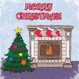 El stylization del bosquejo casa greetin de la vendimia de la Navidad Fotografía de archivo