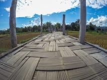 El Su Tong Pae Bridge, el puente de bambú de la fe a través del arroz coloca en la provincia de Mae Hong Son, Tailandia septentri Fotos de archivo