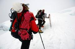 El subir en el glaciar de Chipicalqui a acampar 2 Imagenes de archivo