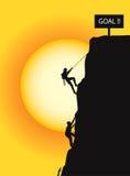 El subir a la meta stock de ilustración