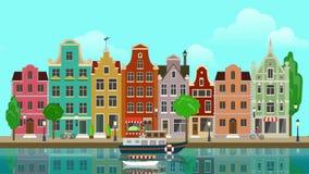 El suburbio colorido multicolor Amsterdam Holanda de la ciudad de la ciudad de los edificios históricos de la historieta plana co stock de ilustración
