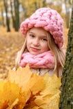 El sueño de la muchacha pensativa en una bufanda y de un casquillo con tejer a mano áspero con un ramo de hojas de arce se coloca Imagen de archivo libre de regalías