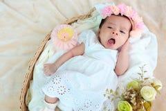 El sueño recién nacido del bebé en la cesta o en la cama y guarda sonrisa con todo el mundo Amor de la sensación el bebé y la nec fotografía de archivo libre de regalías