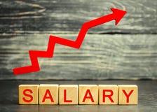 El sueldo de la inscripción y la flecha roja para arriba Aumento del sueldo, tarifas salariales Promoción, crecimiento de la carr fotografía de archivo
