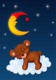 El sueño del oso de peluche en la luna Foto de archivo