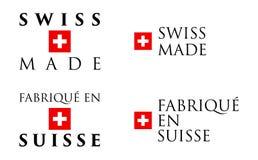 El suizo simple el en Suisse hizo/de Fabrique labe francés de la traducción stock de ilustración