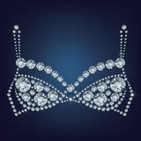 El sujetador brillante compuso muchos diamantes Foto de archivo libre de regalías