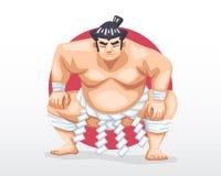 El sumo que se coloca adentro se agacha postura con el círculo rojo como ejemplo del fondo stock de ilustración