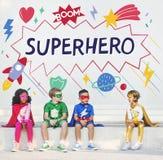 El super héroe embroma concepto del ayudante del poder de la imaginación Imagenes de archivo