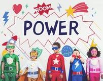 El super héroe embroma concepto del ayudante del poder de la imaginación Foto de archivo