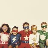 El super héroe embroma concepto del disfrute de la diversión del poder Fotografía de archivo