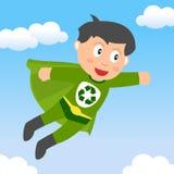 El super héroe recicla al muchacho Imágenes de archivo libres de regalías