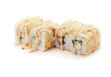 El sushi fijó con las crepes, el queso y las verduras Imágenes de archivo libres de regalías