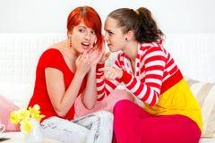 El susurro de la muchacha chismea su novia interesada Imagen de archivo libre de regalías