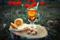 El té con el limón y la menta en una taza de cristal en un lwooden emergen Fotografía de archivo libre de regalías