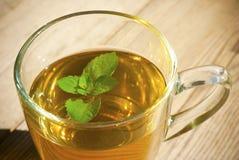 El té de la menta y la menta hojean en el vector de madera viejo Imagen de archivo libre de regalías
