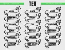 El té mecanografía iconos Foto de archivo libre de regalías