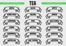 El té mecanografía iconos Fotografía de archivo