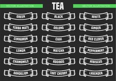 El té mecanografía iconos Fotografía de archivo libre de regalías