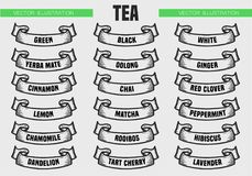 El té mecanografía iconos Foto de archivo