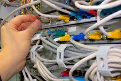 El técnico controla conexiones de red Foto de archivo libre de regalías