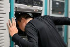 El técnico de la red está trabajando Fotografía de archivo libre de regalías
