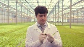 El técnico de laboratorio químico que trabaja con las muestras de la planta, escribe número en el frasco de cristal, instrumentos almacen de metraje de vídeo