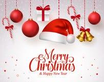 El título de la Feliz Navidad en rojo con los ornamentos de la Navidad de la ejecución le gusta el sombrero de santa ilustración del vector