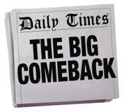 El título de periódico de vuelta acertado de la reaparición grande libre illustration