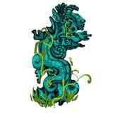 El tótem sagrado de plantas overgrown El símbolo de la religión de la civilización antigua aislada en un blanco ilustración del vector