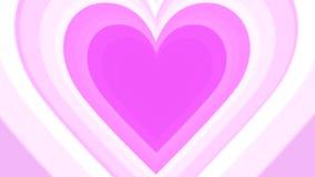 El túnel colorido romántico del corazón del día de tarjeta del día de San Valentín colocó la animación en 4K almacen de metraje de vídeo
