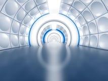 El túnel futurista tiene gusto del pasillo de la nave espacial Imágenes de archivo libres de regalías