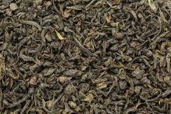 El té verde orgánico (sinensis de la camelia) secó las hojas enteras Imagen de archivo
