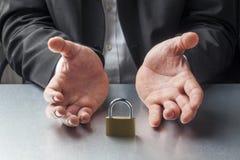 El tabú corporativo o los datos confidenciales tomados cuida por la gestión Imagenes de archivo