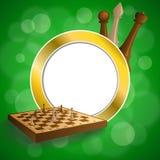 El tablero beige del oro verde del fondo de ajedrez del marrón abstracto del juego figura el ejemplo del círculo del marco Imagen de archivo libre de regalías