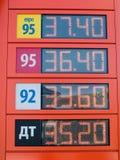 El tablero con los precios para el combustible, marzo de 2016 Fotos de archivo libres de regalías