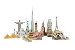 El tablero de los sightseeings del mundo paited en la acuarela, viaje concentrado Imágenes de archivo libres de regalías
