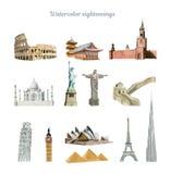 El tablero de los sightseeings del mundo paited en la acuarela, viaje concentrado ilustración del vector