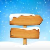 El tablero y el invierno de madera del espacio en blanco de la muestra nievan con el vector de espacio de la copia i ilustración del vector