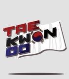 El Taekwondo y bandera coreana Foto de archivo libre de regalías