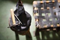 El taller del zapatero, accesorios de costura Fotos de archivo