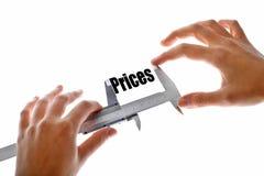 El tamaño de nuestros precios Fotografía de archivo libre de regalías